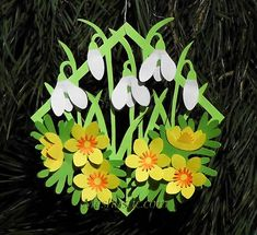 Paper decorative composition with flowers