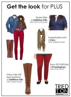 Fall 2013 trendy plus size fashion look #leopardprint #redjeans #kneeboots