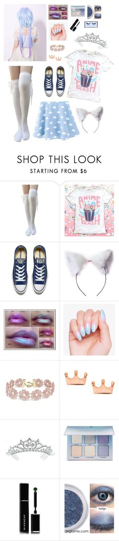 """""""Not sure what to call this but it's cute !"""" by xx-prince-gumball-xx ❤ liked on Polyvore featuring Converse, cutekawaii, BaubleBar, Mminimal, Kate Marie, Anastasia Beverly Hills, Givenchy, Huda Beauty and PrinceGumballsCloset"""