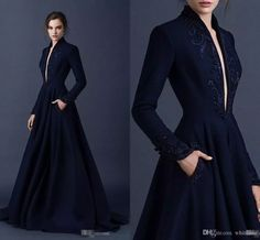 2017 Navy Blue Satin Formal Celebrity Evening Dresses With Pocket Embroidery Paolo Sebastian Plunging V Neck Long Sleeves Prom Party Gowns 2016 Rami Kadi Black Lace Wedding Dress A Line Floor Length Bridal Gown Custom Made Open Back Bridal Gown Online with $181.28/Piece on Whiteone's Store | DHgate.com