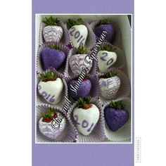Lavender graduation chocolate covered strawberries