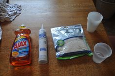 Mold making, cheap and easy -Dish soap -100% Silicone Caulk (If it isnt clear its not 100% silicone caulk so ,you know, get clear.) -Latex gloves (Make sure these are powderless. Powder + watery silicone = paste. You dont want that. Also, make sure that these are not silicone gloves. Silicone sticks to silicone very well. As far as Nitrile, Ive never tried them.) -Plastic cup (Use bigger ones than this. I spilled a lot of water. Tupperware works well too) -Water -1 caulk gun