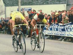 Laurent Fignon & Bernard Hinault battle it out during a Tour de France stage sprint. Two of the greatest French riders of the cycling's Golden Era.