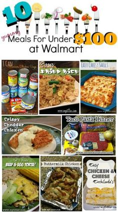 10 meals under 100 dollars at walmart. This includes your shopping list and recipes to make these yummy meals. PLanning ahead helps you save money. Cheap Meal Plans, Cheap Easy Meals, Cheap Dinners, Frugal Meals, Cheap Family Meals, Inexpensive Meals, Crockpot Cheap Meals, Extremely Cheap Meals, Super Cheap Meals
