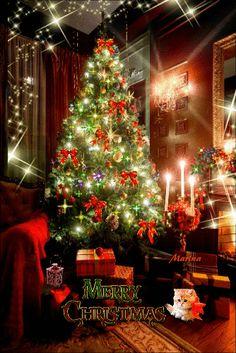 Merry Christmas Gif, Christmas And New Year, Christmas Tree, Holiday Decor, Home Decor, Teal Christmas Tree, Decoration Home, Room Decor, Xmas Trees