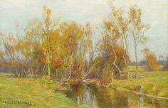 File:Autumn Trees along a Stream by Hugh Bolton Jones .jpg