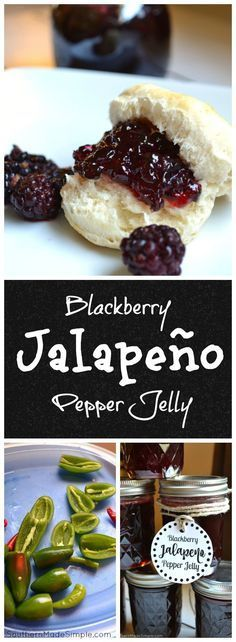 How to make this blackberry jalapeno pepper jelly. Blackberry Jalapeno Pepper Jelly Recipe - a really simple recipe to make the sweetest jelly around - with a hint of heat! Jalapeno Pepper Jelly, Pepper Jelly Recipes, Stuffed Jalapeno Peppers, Jalapeno Recipes, Recipes With Jalapenos, Canning Jalapeno Peppers, Hot Pepper Jelly, Jam Recipes, Vegetarian