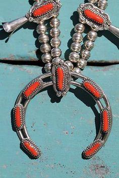 Vintage Southwestern Sterling Silver Red Coral Squash Blossom Necklace | eBay