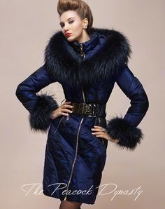 Hot Sell Women's Just Cavalli Real Fur Goose Down Jacket Freizeit ...