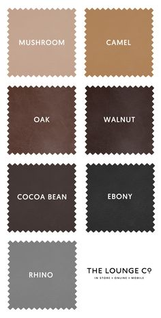 Ones to Swatch   At The Lounge Co. we offer two types of leather; Smooth and Distressed. Both are Semi-Aniline and in a range of classic and contemporary shades. Order up to 8 free swatches now. Mushroom, Camel, Oak, Walnut, Cocoa Bean, Ebony, Rhino. #theloungeco #swatch #swatches #leather #brown #black #tan #grey #vintage #smooth #sofa #chair #upholstery