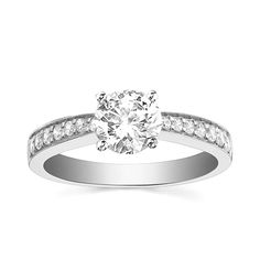 Engagement Ring with Side Stone 1/5 CT. T.W