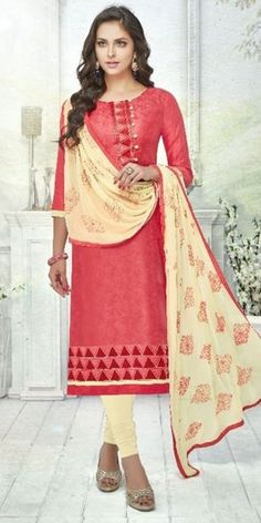 Glowing Pink Cotton Straight Suit With Dupatta.