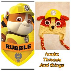 handmade disneys paw patrol rubble hat set. my boys would love this