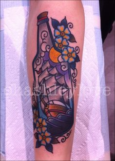 Oh Ashley Love: Ship in a Bottle tattoo by Ashley Love