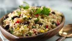 Quinoa is high in protein, low in fat and cooks quickly, making it a terrific dinner choice.  As is, this recipe works well as a grain side dish; to make it a main dish, double the serving size.