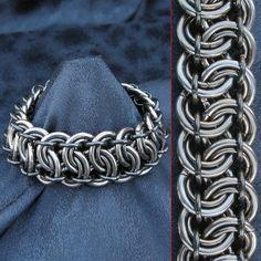 Custom Made Bracelet - Heavy Duty Steel - 12 Gauge Garter Belt Weave Men's Chainmaille