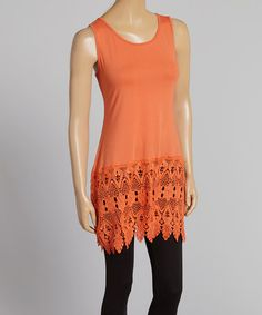 Another great find on #zulily! Rust Crochet Linen-Blend Tunic by Pretty Angel #zulilyfinds