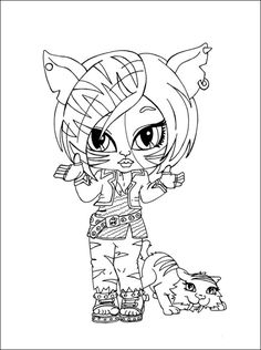 Monster High Toralei Coloring Pages | Toralei Stripe with Sweet Fangs Monster High coloring and printable ...