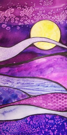 Purple Dunes (complete) by TnTedE, via Flickr - Watercolor, watercolor pencil with Salt, Bubble Wrap, and Tissue Paper techniques