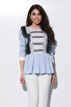 Bluza bleu cu volanase Bln 265 Atmosphere Fashion, Peplum, Ruffle Blouse, Sexy Outfits, Bikini, Collection, Tops, Women, Atelier