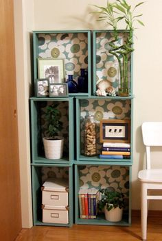 """This is a modular bookcase from old drawers. The drawers were """"salvaged from the kitchen of a 1940s house that was demolished."""" Very clever use of old drawers."""