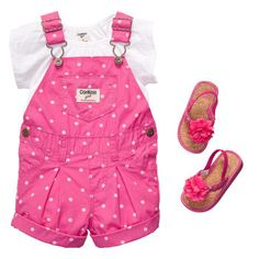 "Adrienne Brown- my 2 favorite things overalls on baby and polka dots!  ""Polka Dot Pretty"" is pink perfect for baby girls. #oshkoshbgosh"