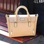 Vintage Tote Bag With Double Zippers and Solid Color Design