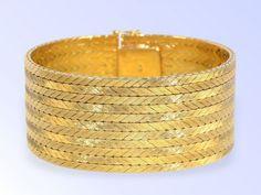 Armband: vintage, 60er Jahre Armband in 18K Gelbgold, NEW OLD STOCK, ungetragen! Ca. 18,5cm lang, ca