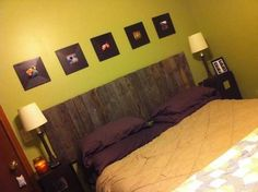 Love the pallet headboard. And its short which is what we need because our bed is under a window.