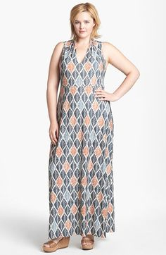 Grey and orange = love. Viereck 'Vendome' Print Maxi Dress (Plus Size) available at #Nordstrom