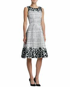B2C21 Oscar de la Renta Floral-Applique Cocktail Dress