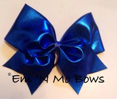 Super Shine Royal Blue Cheer Bow by emNmoBows on Etsy, $10.00