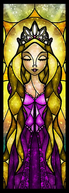 Stained glass Disney - Rapunzel  The Lost Princess Art Print