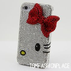 UMMMMMMMMMMM I HAVE TO HAVE THIS!!!!!!!! Bows half face iphone 5 case iphone 4 case iphone 4s case bling bling pearl crystal iphone 5 cases. $26.00, via Etsy.