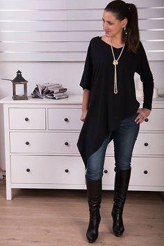 Čierna tunika s rukávom   miracles.style - SAShE.sk - Handmade Tuniky 17bfadc5e1e
