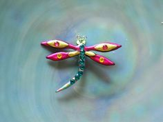 Dragonfly pink and yellow by ladybugholmes on Etsy, $10.00