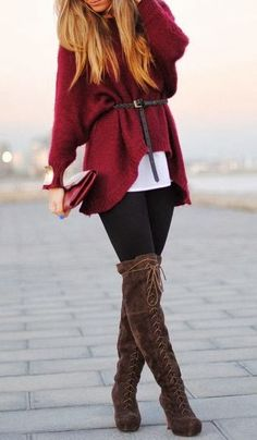 Fall Outfit With Wine Sweater and Long Boots