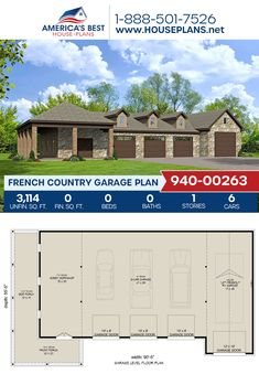 Full of space and French Country style, Plan 940-00263 features 3,114 sq. ft. of garage space, an RV bay, and a workshop. #frenchcountrygarage #garage #garageplans #architecture #houseplans #housedesign #homedesign #homedesigns #architecturalplans #newconstruction #floorplans #dreamhome #dreamhouseplans #abhouseplans #besthouseplans #newhome #newhouse #homesweethome #buildingahome #buildahome #residentialplans #residentialhome French Country House Plans, French Country Style, Best House Plans, Dream House Plans, Building Plans, Building A House, Open Layout, French Countryside, Garage Plans