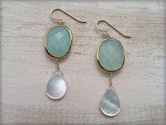 Aqua AND Pearls? My two favorites in one! #loveofpretty Aqua Pearl Dangles. $48.00.