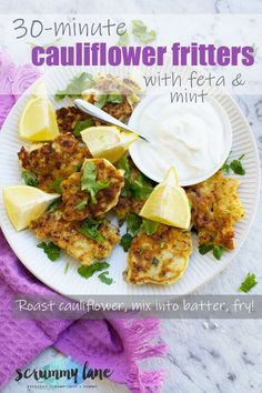 Welcome to your new weekend brunch! These roasted cauliflower fritters take just 30 minutes to make. Packed with feta Cauliflower Fritters, Roasted Cauliflower, Salad Dressing Recipes, Salad Recipes, Healthy Living Recipes, Healthy Meals, Quick And Easy Appetizers, Baked Vegetables, Brunch Recipes