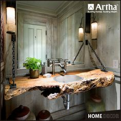 Here's an #Ecofriendly & Pocket-friendly option for your washbasin counter... A #Tree bark which looks a class apart the monotonous granite-marble laden basin counters.