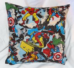 """Marvel pillow 14"""" with a zipper on the bottom for easy washing."""