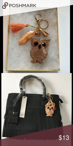 """Copper Owl Keychain / Purse Charm, NWOT Copper Owl with orange leaf charm and tassel charms. Keychain or purse charm, 6"""" long, I have several new bags if you need one to go with the charm. Boutique Accessories Key & Card Holders"""