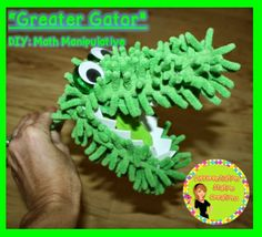 """DIY """"Greater Gator"""" math manipulative. Use for greater than/ less than. Made from dollar store dusters."""