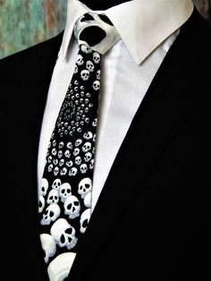 Black and White Tie – Mens Gothic Skull Necktie. by EdsNeckties on Etsy