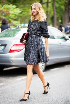 Pair an A-Line dress with lace-up pumps. // #Streetstyle