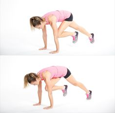 This exercise works the lower body and the core and is a great form of cardio. Learn how to do the complete move below.