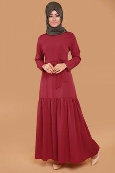 Eteği Fırfırlı Kolyeli Elbise  Bordo Ürün Kodu: UKB2052-S--> 59.90 TL