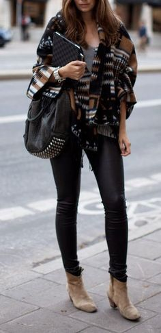Amazing fall outfit - black leggings, shoes, poncho and bag. Latest fall fashion ideas 2015.:
