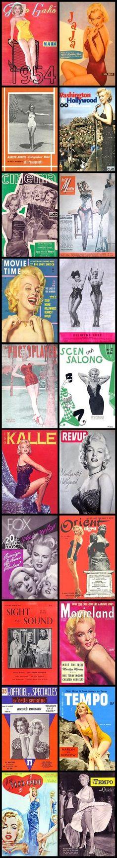 1954 magazine covers of Marilyn Monroe .... #marilynmonroe #normajeane #vintagemagazine #pinup #iconic #raremagazine #magazinecover #hollywoodactress #1950s